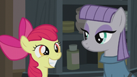 Apple Bloom and Maud smiling S5E20