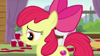 Apple Bloom crossing in front of Sweetie Belle S7E21