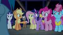 Applejack --you can thank Pinkie Pie-- S6E15