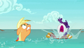 Applejack and Rarity emerge from the water S6E22.png