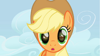 Applejack looks at the horseshoe S1E13