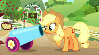 Applejack looks down party cannon barrel S8E18