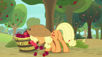 Applejack pushing an apple bucket S9E10