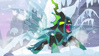 Chrysalis swooping down on the snow S9E24