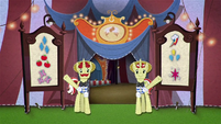 Flim and Flam welcome ponies into the tent BFHHS4