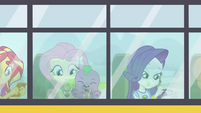 Fluttershy, Spike, and Rarity riding the CHS bus EG4