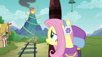Fluttershy looking at Discord's volcano S6E17