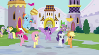 Mane Six and Spike entering Canterlot S9E1