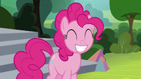 Pinkie Pie grinning wide at Applejack S8E7