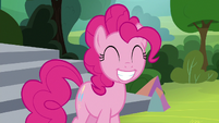 Pinkie Pie grinning wide at Applejack S8E7