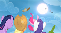 Pinkie Pie throws the care package into the air S3E7