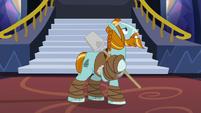 Rockhoof posing on three hooves S8E21