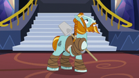 Rockhoof posing on three hooves S8E21