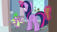 Spike looking embarrassed at Twilight S8E12
