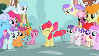The ponies admire Apple Bloom S2E06