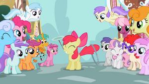 The ponies admire Apple Bloom S2E06