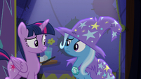 Trixie looking confused at Twilight S6E6