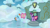 Twilight and Rainbow outside the cadet classroom S6E24