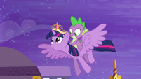 Twilight and Spike flying S4E1