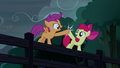 Apple Bloom and Scootaloo hoof-bump S5E6.png