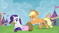 Applejack giving trade goods to Rarity S4E22.png