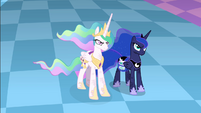 Celestia and Luna facing Discord S4E02