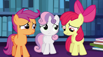 Cutie Mark Crusaders pouting with worry S6E19