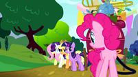 Main cast apologizing to Pinkie S4E12
