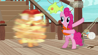 Pinkie Pie spins Applejack around S6E22