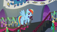 Rainbow Dash flying upstairs S6E7