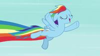 Rainbow Dash soaring through the sky S7E2