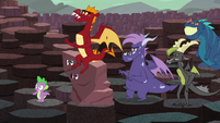 Spike, Garble, and the other dragons hear a sneeze S6E5