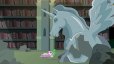 Spike sees an alicorn horse statue S4E03