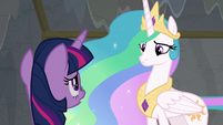 Twilight Sparkle looking up at Celestia S8E7