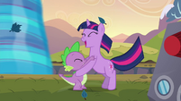 Twilight and Spike cheering S2E22