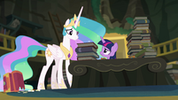 Twilight looking worried at Princess Celestia EGFF