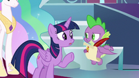 Twilight telling Spike to take a letter S9E24