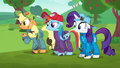 AJ, Dash, and Rarity wonder what to do S6E14.png