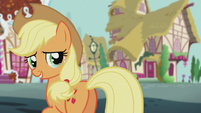 Applejack looks at Apple Bloom teary-eyed S5E18