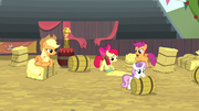 Cutie Mark Crusaders cleaning the rodeo grounds S5E6