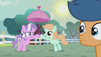 Diamond Tiara gives a parasol to Peach Fuzz S5E18