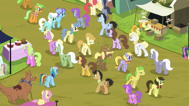 File:Fluttershy and RD blocked by rows of ponies S4E22.png