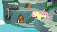 Fluttershy flying to the supply room S9E18