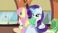Fluttershy window-gazes while Rarity sews S6E1.png