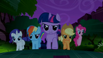 Main 5 ponies charging towards the Manticore S1E02