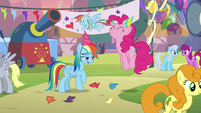 Pinkie Pie jumping with delight S7E23