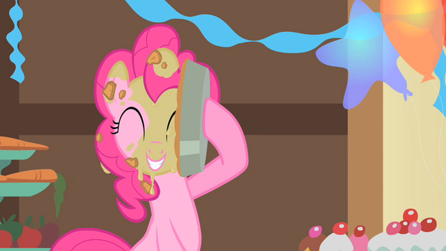 File:Pinkie Pie puts a pie to her face S1E22.png