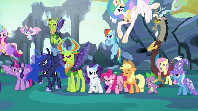 File:Ponies, changelings, Spike, and Discord opposing Chrysalis S6E26.png