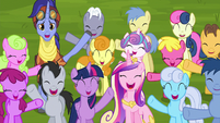 Ponies cheer for Starlight and Trixie S8E19