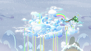Rainbow flying to Cloudsdale with Tank S5E5